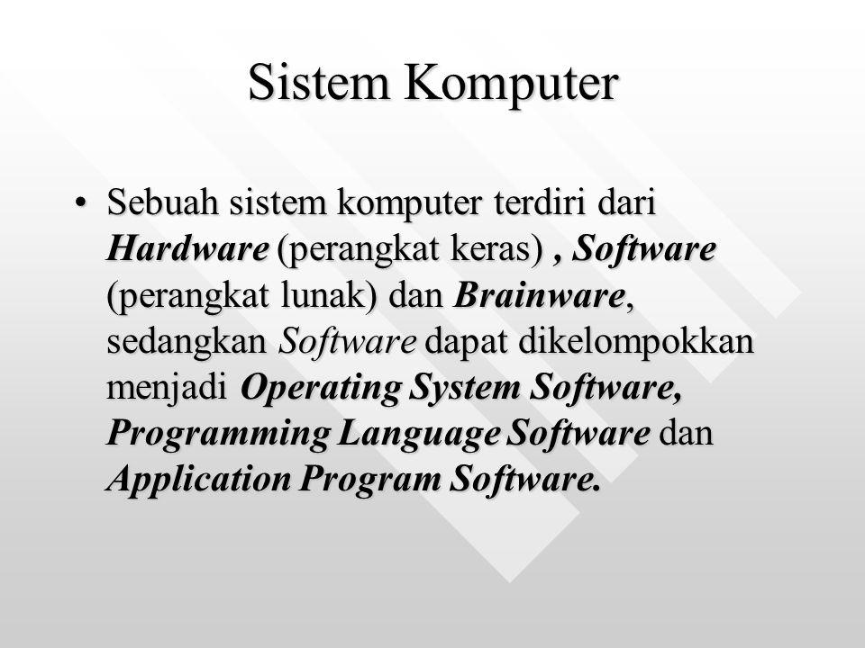 Sistem Komputer Sebuah sistem komputer terdiri dari Hardware (perangkat keras), Software (perangkat lunak) dan Brainware, sedangkan Software dapat dik