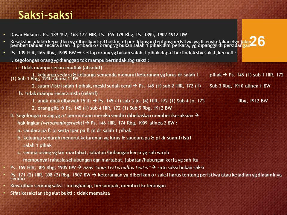Saksi-saksi Dasar Hukum : Ps.139-152, 168-172 HIR; Ps.