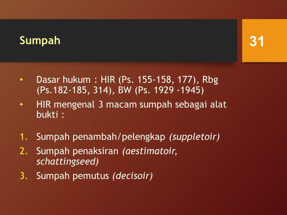 Sumpah Dasar hukum : HIR (Ps.155-158, 177), Rbg (Ps.182-185, 314), BW (Ps.