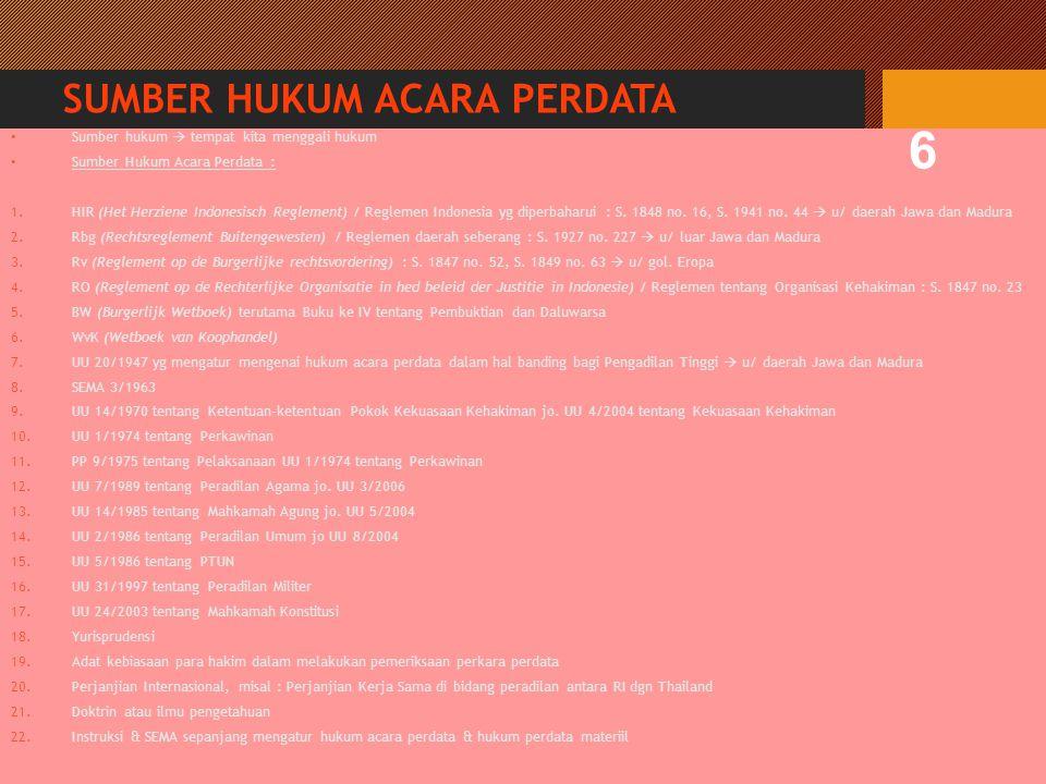 SUMBER HUKUM ACARA PERDATA Sumber hukum  tempat kita menggali hukum Sumber Hukum Acara Perdata : 1.HIR (Het Herziene Indonesisch Reglement) / Reglemen Indonesia yg diperbaharui : S.