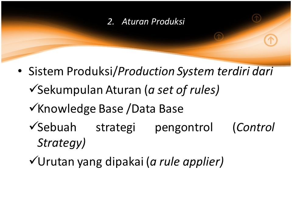 2.Aturan Produksi Sistem Produksi/Production System terdiri dari Sekumpulan Aturan (a set of rules) Knowledge Base /Data Base Sebuah strategi pengontr