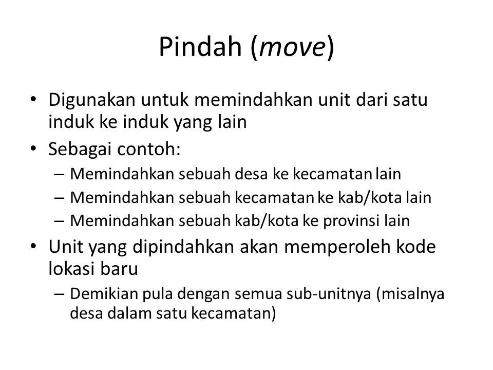 Pindah (move) Digunakan untuk memindahkan unit dari satu induk ke induk yang lain Sebagai contoh: – Memindahkan sebuah desa ke kecamatan lain – Memind