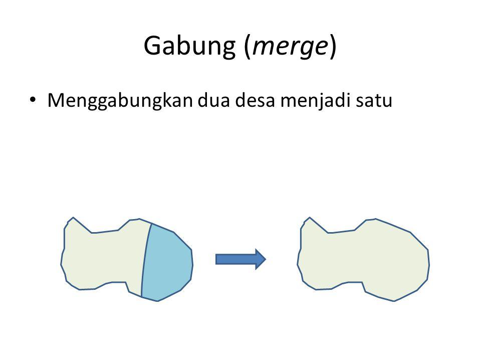 Gabung (merge) Menggabungkan dua desa menjadi satu