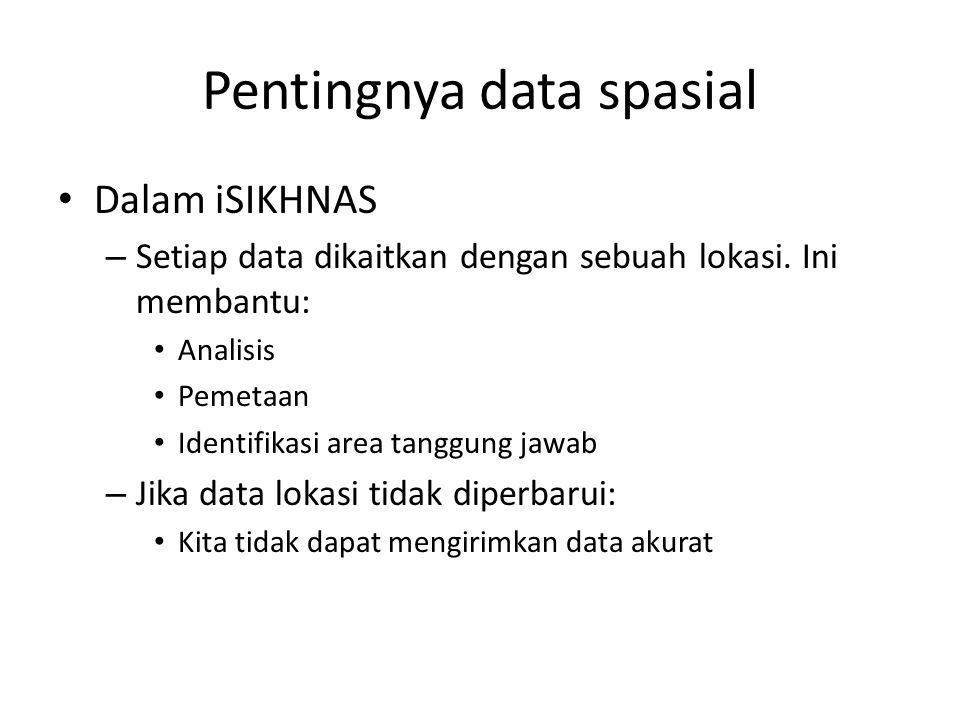 Pentingnya data spasial Dalam iSIKHNAS – Setiap data dikaitkan dengan sebuah lokasi. Ini membantu: Analisis Pemetaan Identifikasi area tanggung jawab