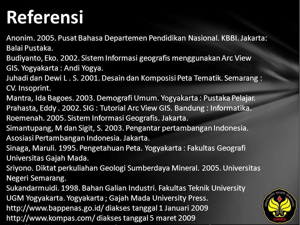 Referensi Anonim. 2005. Pusat Bahasa Departemen Pendidikan Nasional. KBBI. Jakarta: Balai Pustaka. Budiyanto, Eko. 2002. Sistem Informasi geografis me