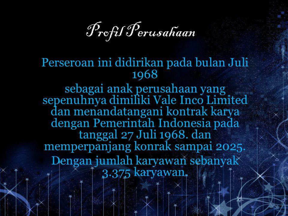 Profil Perusahaan Perseroan ini didirikan pada bulan Juli 1968 sebagai anak perusahaan yang sepenuhnya dimiliki Vale Inco Limited dan menandatangani k