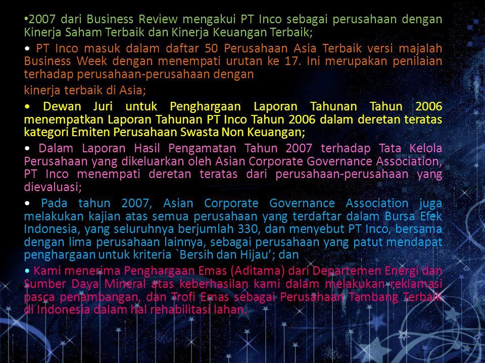2007 dari Business Review mengakui PT Inco sebagai perusahaan dengan Kinerja Saham Terbaik dan Kinerja Keuangan Terbaik; PT Inco masuk dalam daftar 50