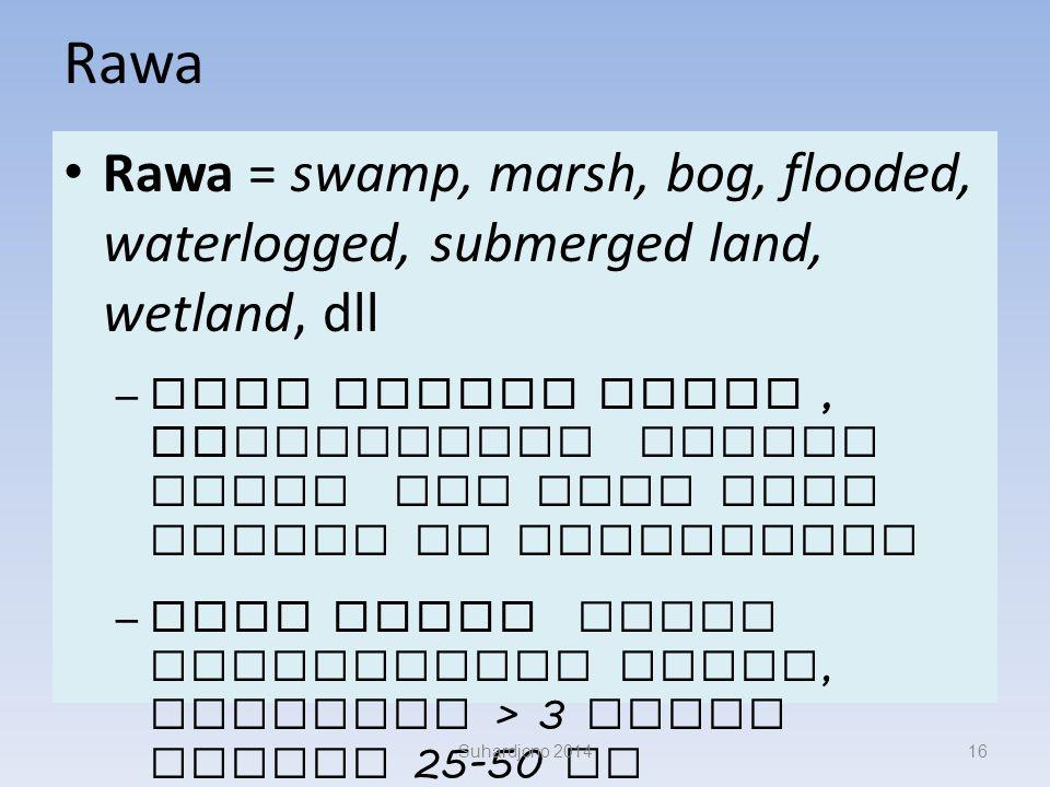 PermenPU no 05/PRT/M/2010 tentang Pedoman dan Pemeliharaan Jaringan Reklamasi Rawa Pasang Surut Lahan tergenang air (terus menerus atau musimam) terbe