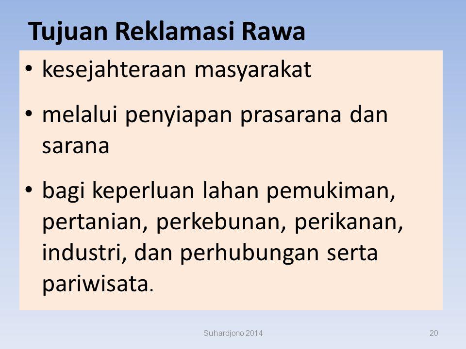 Suhardjono 201419 sekitar 2 juta ha lahan rawa Indonesia telah direklamas i untuk pertanian dan pemukiman. dilakukan baik oleh penduduk setempat maupu