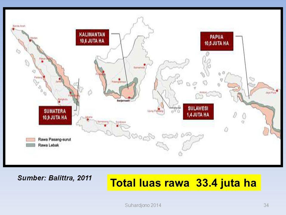 Data Rawa Indonesia s ekitar 33 juta ha (18 % luas daratan Indonesia); rawa pasang surut 20 juta ha, rawa lebak 13 juta ha. rawa pasut = sumber daya p