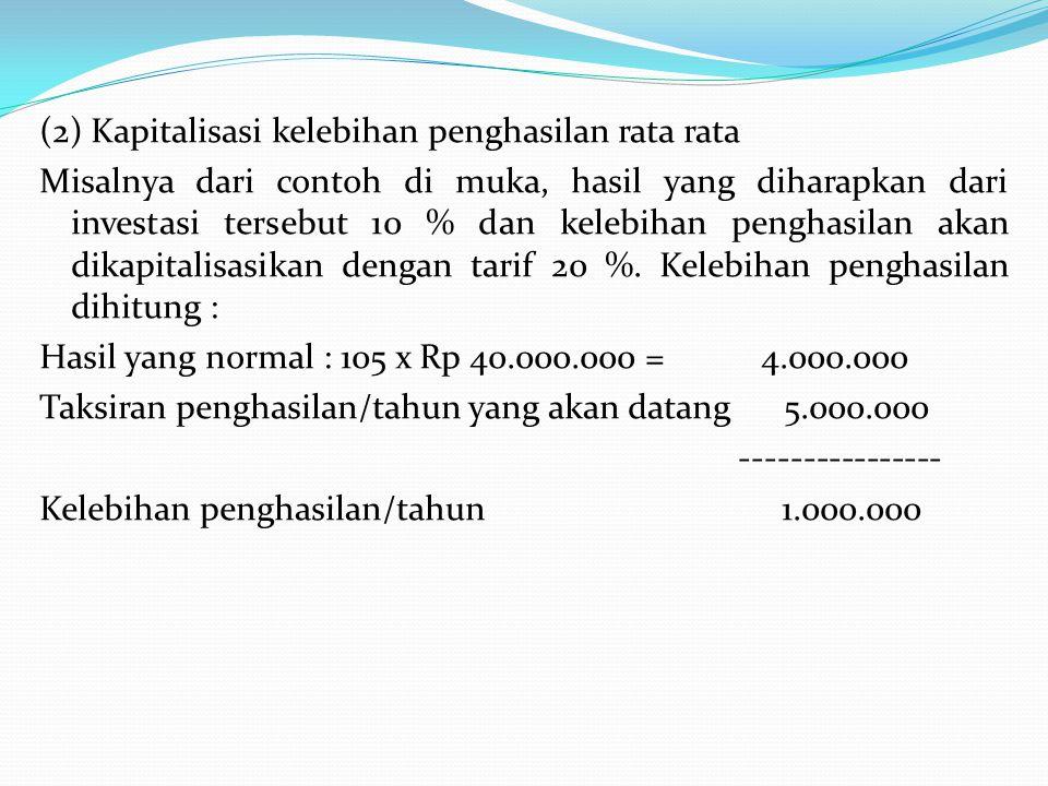 (2) Kapitalisasi kelebihan penghasilan rata rata Misalnya dari contoh di muka, hasil yang diharapkan dari investasi tersebut 10 % dan kelebihan pengha