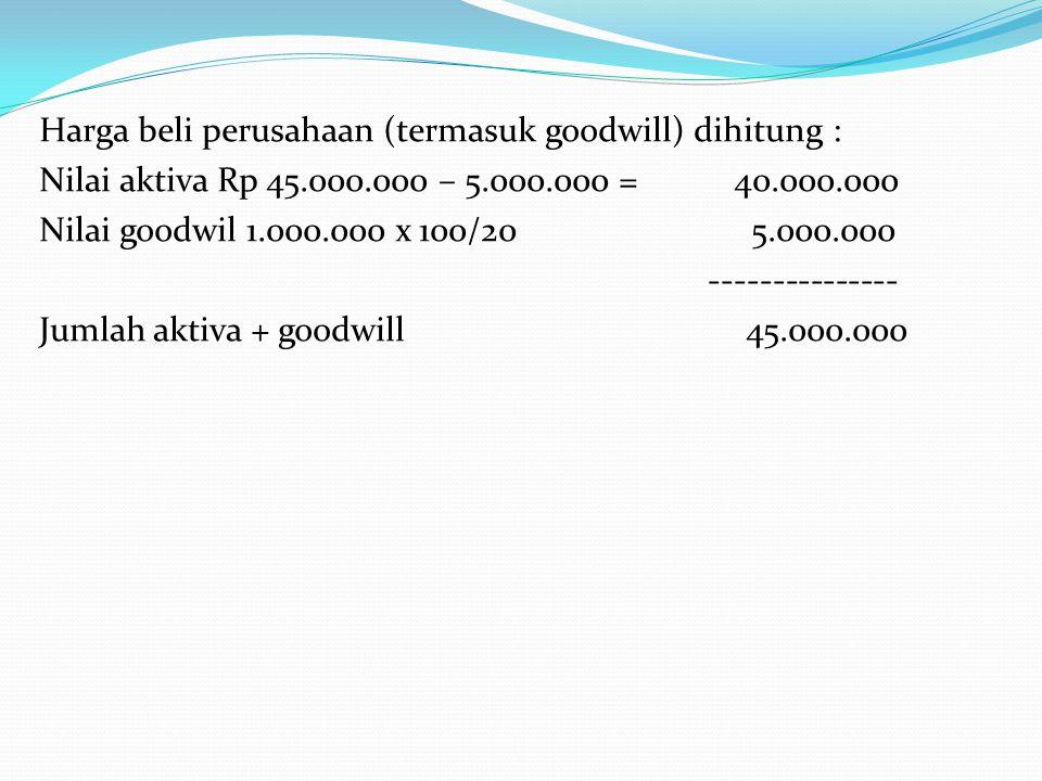Harga beli perusahaan (termasuk goodwill) dihitung : Nilai aktiva Rp 45.000.000 – 5.000.000 = 40.000.000 Nilai goodwil 1.000.000 x 100/20 5.000.000 --