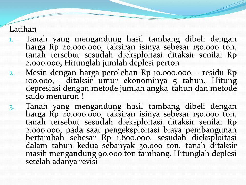 Latihan 1. Tanah yang mengandung hasil tambang dibeli dengan harga Rp 20.000.000, taksiran isinya sebesar 150.000 ton, tanah tersebut sesudah dieksplo