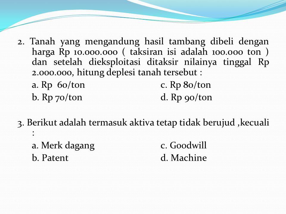2. Tanah yang mengandung hasil tambang dibeli dengan harga Rp 10.000.000 ( taksiran isi adalah 100.000 ton ) dan setelah dieksploitasi ditaksir nilain