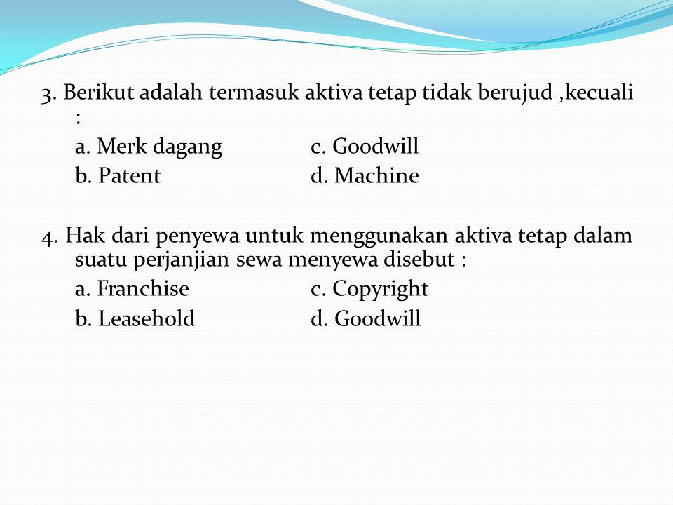 3. Berikut adalah termasuk aktiva tetap tidak berujud,kecuali : a. Merk dagangc. Goodwill b. Patent d. Machine 4. Hak dari penyewa untuk menggunakan a