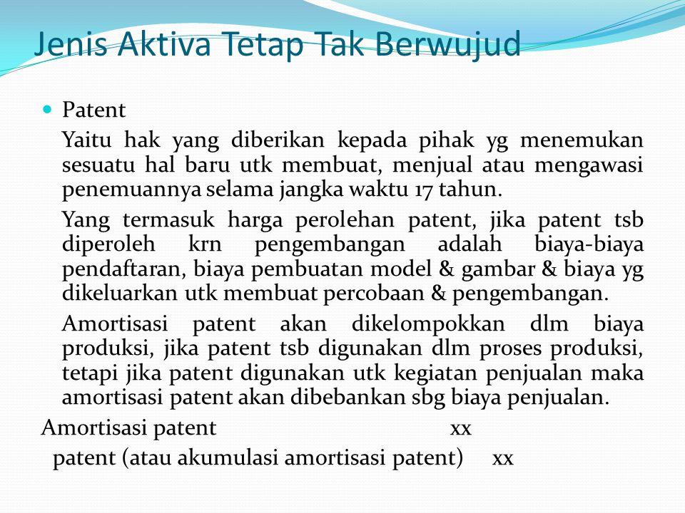 Jenis Aktiva Tetap Tak Berwujud Patent Yaitu hak yang diberikan kepada pihak yg menemukan sesuatu hal baru utk membuat, menjual atau mengawasi penemua