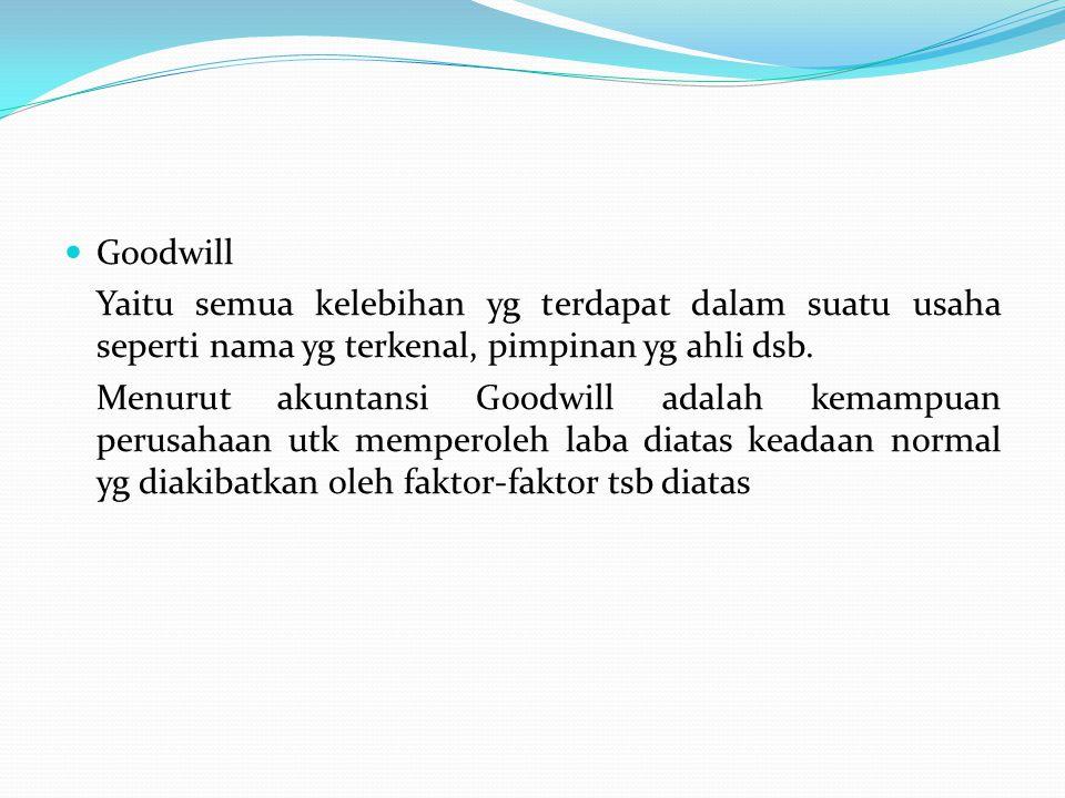 Goodwill Yaitu semua kelebihan yg terdapat dalam suatu usaha seperti nama yg terkenal, pimpinan yg ahli dsb. Menurut akuntansi Goodwill adalah kemampu