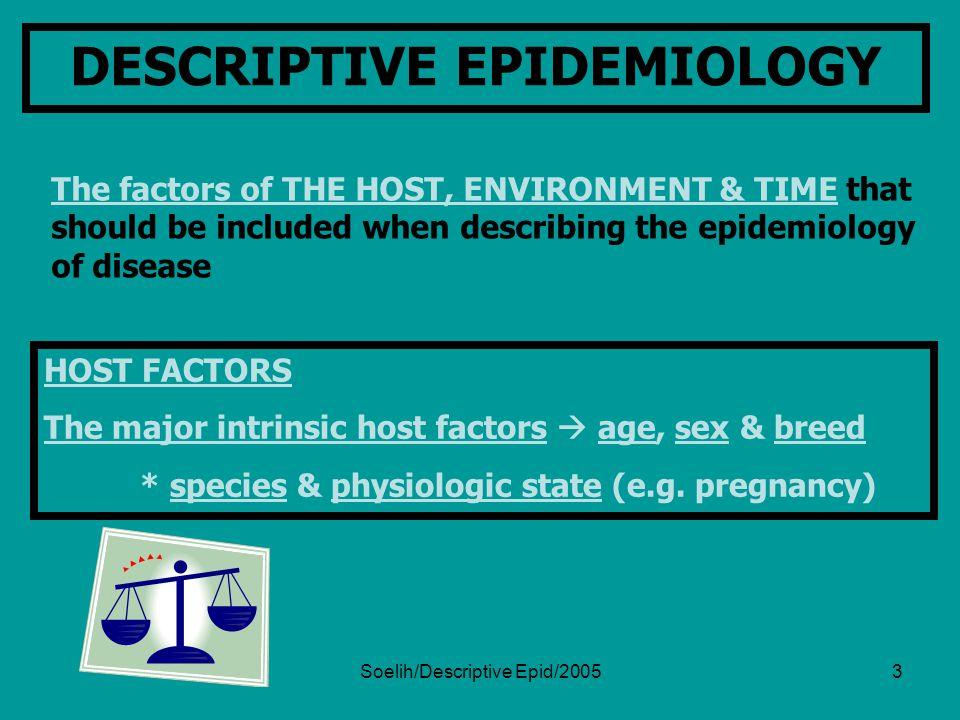 Soelih/Descriptive Epid/20054 THE MAJOR INTRINSIC HOST FACTORS  AGE, SEX & BREED species & physiologic state (e.g.