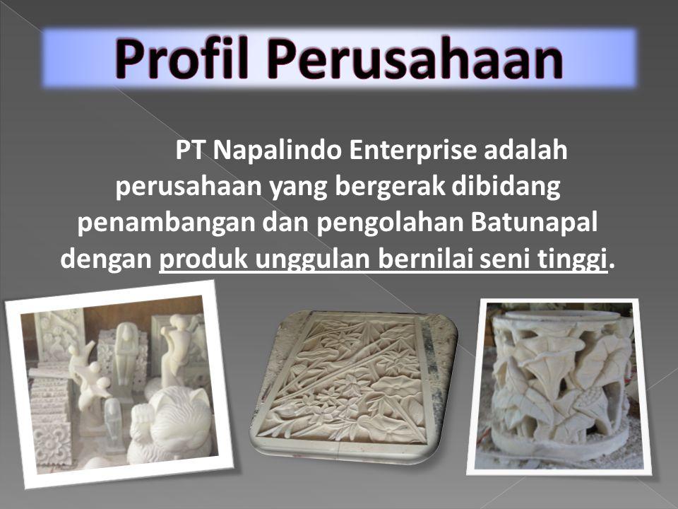 PT Napalindo Enterprise adalah perusahaan yang bergerak dibidang penambangan dan pengolahan Batunapal dengan produk unggulan bernilai seni tinggi.