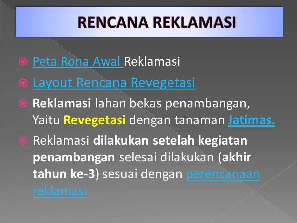  Peta Rona Awal Reklamasi Peta Rona Awal  Layout Rencana Revegetasi Layout Rencana Revegetasi  Reklamasi lahan bekas penambangan, Yaitu Revegetasi dengan tanaman Jatimas.Jatimas.