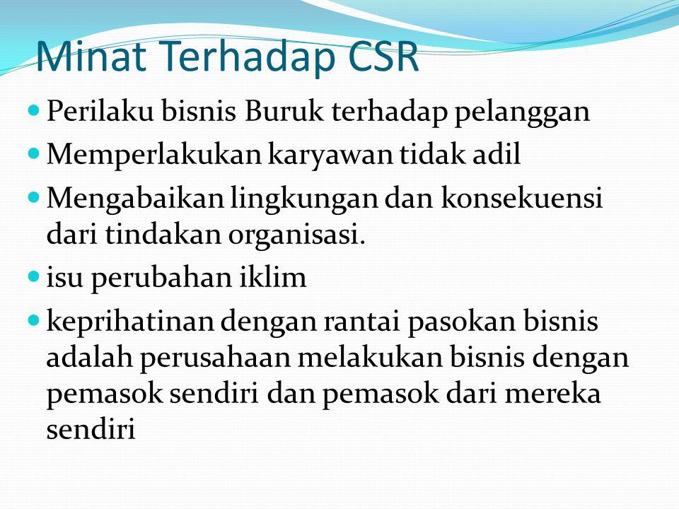 Minat Terhadap CSR Perilaku bisnis Buruk terhadap pelanggan Memperlakukan karyawan tidak adil Mengabaikan lingkungan dan konsekuensi dari tindakan org