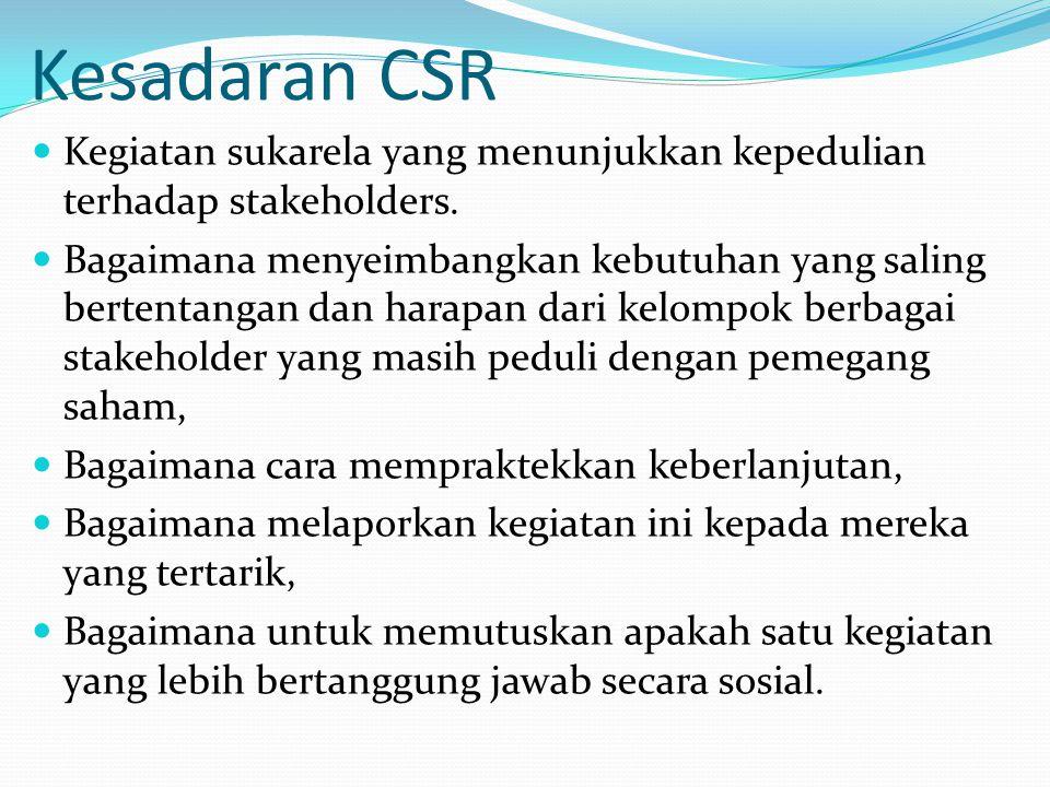Kesadaran CSR Kegiatan sukarela yang menunjukkan kepedulian terhadap stakeholders. Bagaimana menyeimbangkan kebutuhan yang saling bertentangan dan har