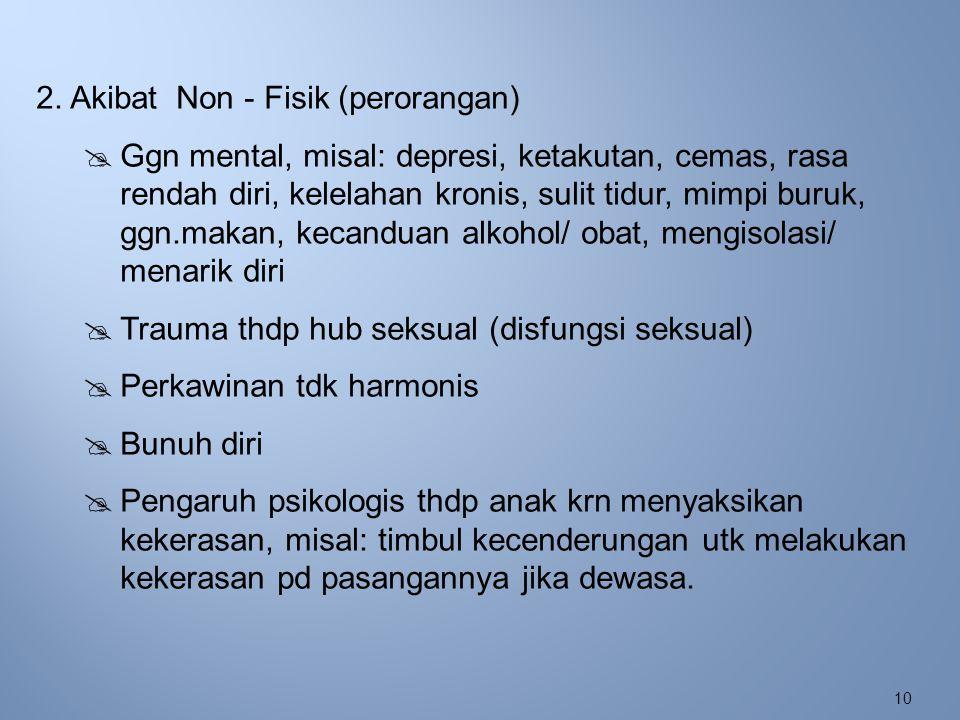10 2. Akibat Non - Fisik (perorangan)  Ggn mental, misal: depresi, ketakutan, cemas, rasa rendah diri, kelelahan kronis, sulit tidur, mimpi buruk, gg