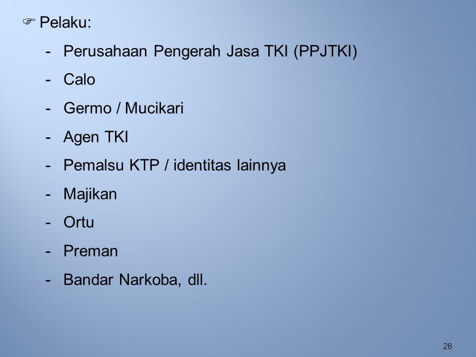 28  Pelaku: -Perusahaan Pengerah Jasa TKI (PPJTKI) -Calo -Germo / Mucikari -Agen TKI -Pemalsu KTP / identitas lainnya -Majikan -Ortu -Preman -Bandar
