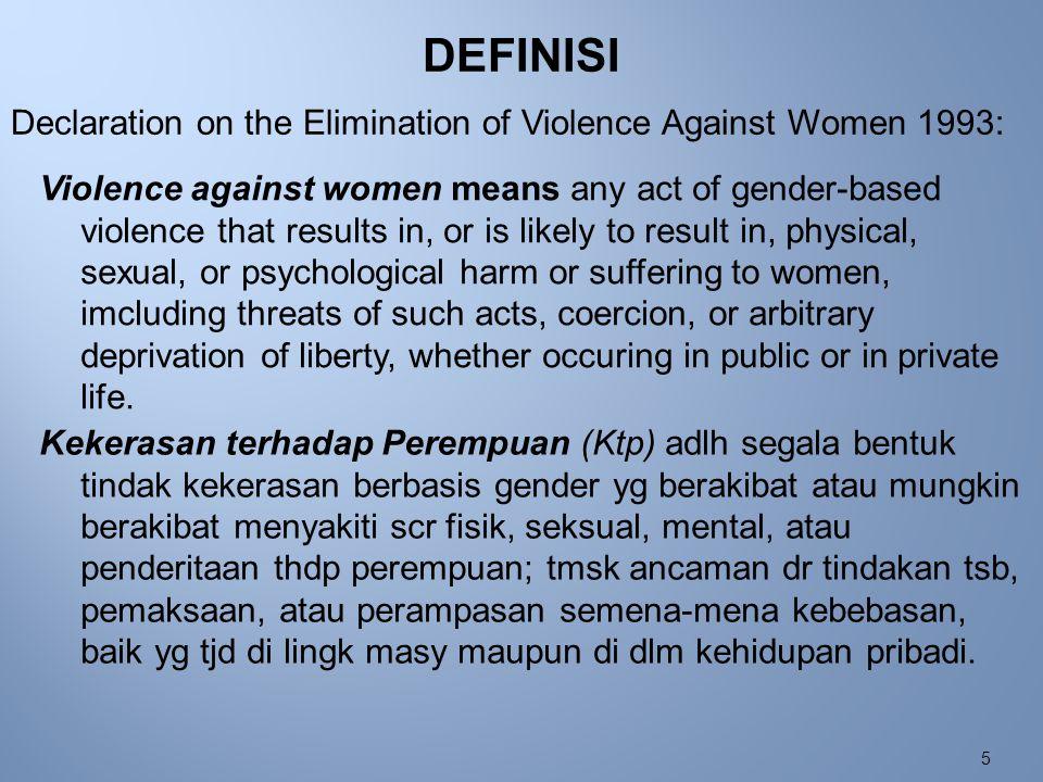 6 Atau : Kekerasan terhadap Perempuan (KtP) adlh segala bentuk ketidak adilan krn pembedaan jenis kelamin sosial yg mengakibatkan atau akan mengakibatkan rasa sakit atau penderitaan thdp perempuan tmsk ancaman, paksaan, pembatasan kebebasan, baik yg tjd di area publik (umum) maupun domestik (privat).