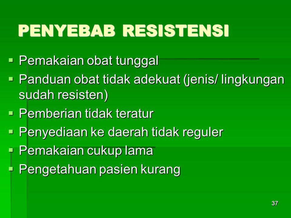 37 PENYEBAB RESISTENSI  Pemakaian obat tunggal  Panduan obat tidak adekuat (jenis/ lingkungan sudah resisten)  Pemberian tidak teratur  Penyediaan