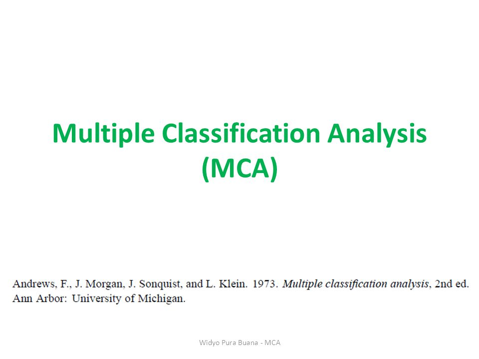 Multiple Classification Analysis (MCA) Widyo Pura Buana - MCA