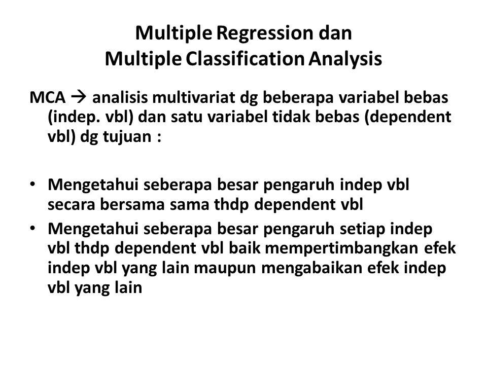 Multiple Regression dan Multiple Classification Analysis MCA  analisis multivariat dg beberapa variabel bebas (indep. vbl) dan satu variabel tidak be