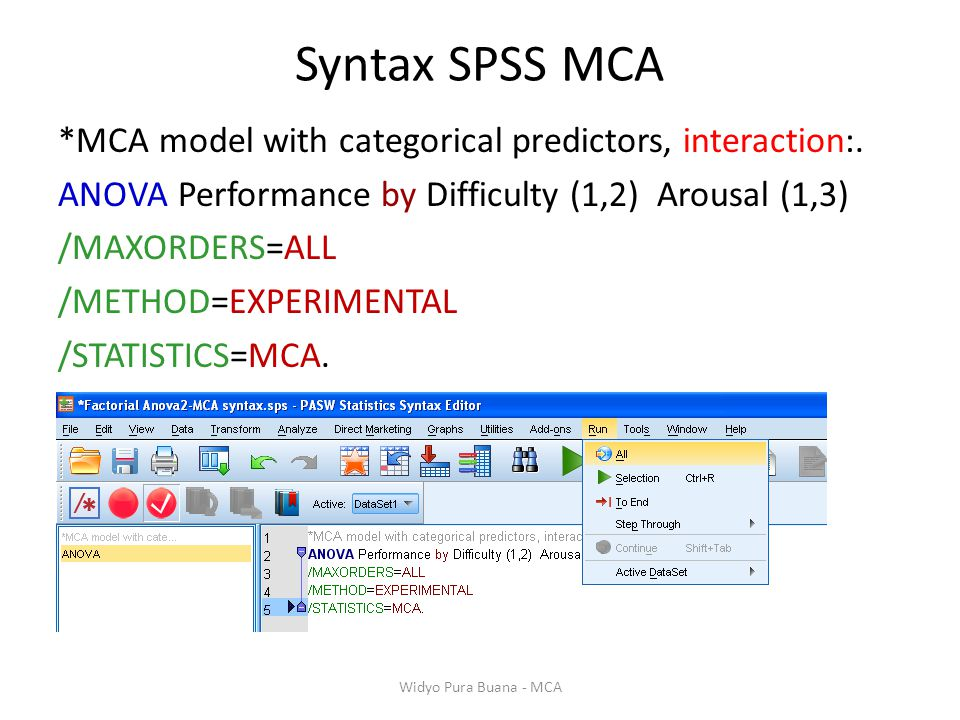 Syntax SPSS MCA *MCA model with categorical predictors, interaction:. ANOVA Performance by Difficulty (1,2) Arousal (1,3) /MAXORDERS=ALL /METHOD=EXPER