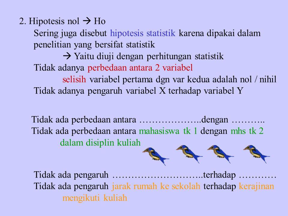 2. Hipotesis nol  Ho Sering juga disebut hipotesis statistik karena dipakai dalam penelitian yang bersifat statistik  Yaitu diuji dengan perhitungan