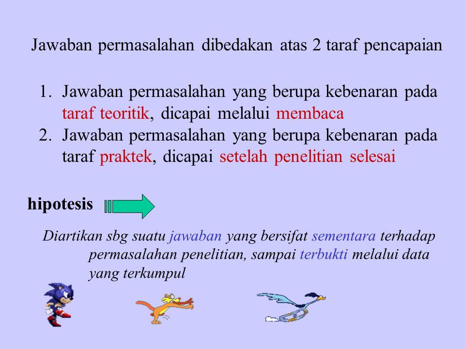 Jawaban permasalahan dibedakan atas 2 taraf pencapaian 1.Jawaban permasalahan yang berupa kebenaran pada taraf teoritik, dicapai melalui membaca 2.Jaw
