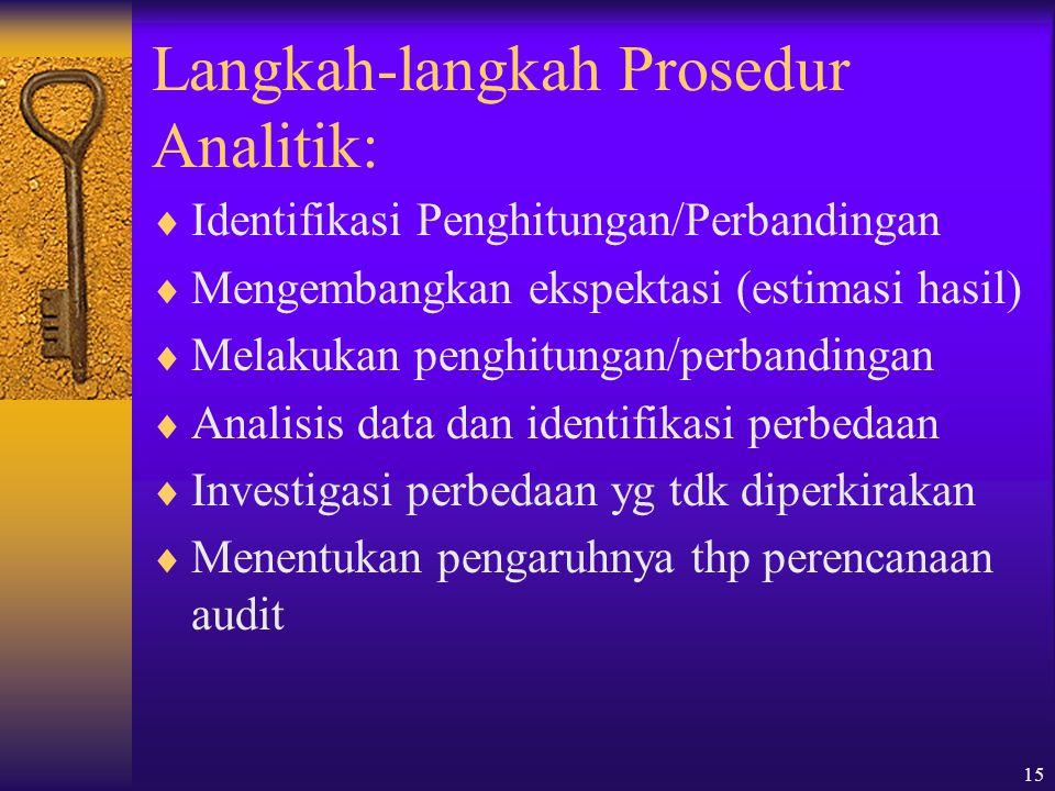 15 Langkah-langkah Prosedur Analitik:  Identifikasi Penghitungan/Perbandingan  Mengembangkan ekspektasi (estimasi hasil)  Melakukan penghitungan/perbandingan  Analisis data dan identifikasi perbedaan  Investigasi perbedaan yg tdk diperkirakan  Menentukan pengaruhnya thp perencanaan audit