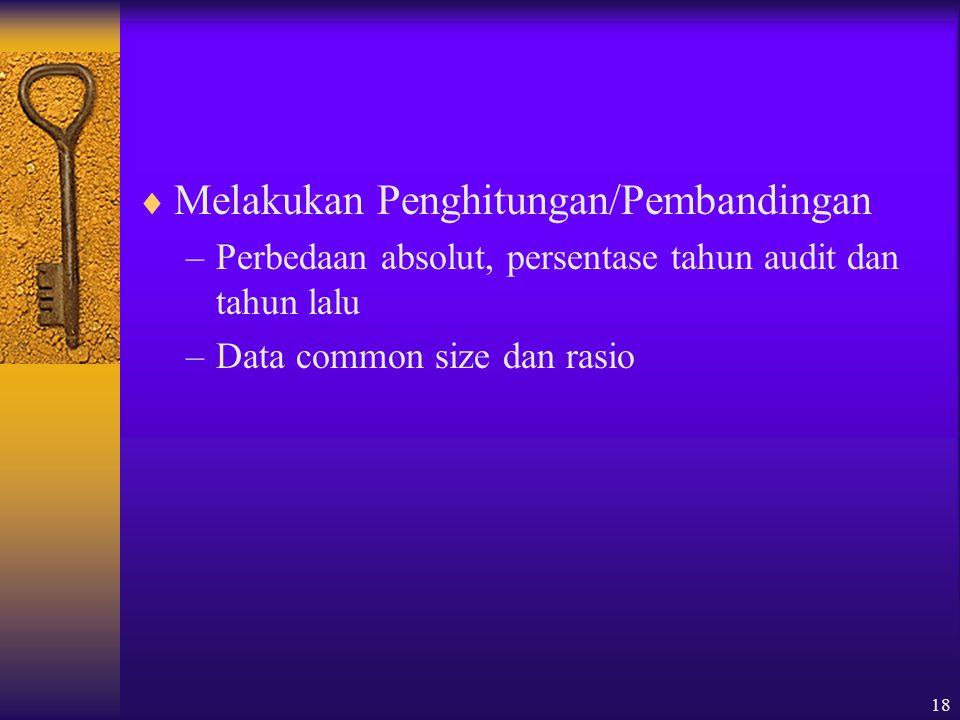 18  Melakukan Penghitungan/Pembandingan –Perbedaan absolut, persentase tahun audit dan tahun lalu –Data common size dan rasio