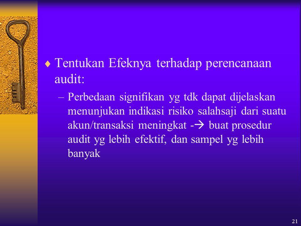 21  Tentukan Efeknya terhadap perencanaan audit: –Perbedaan signifikan yg tdk dapat dijelaskan menunjukan indikasi risiko salahsaji dari suatu akun/transaksi meningkat -  buat prosedur audit yg lebih efektif, dan sampel yg lebih banyak