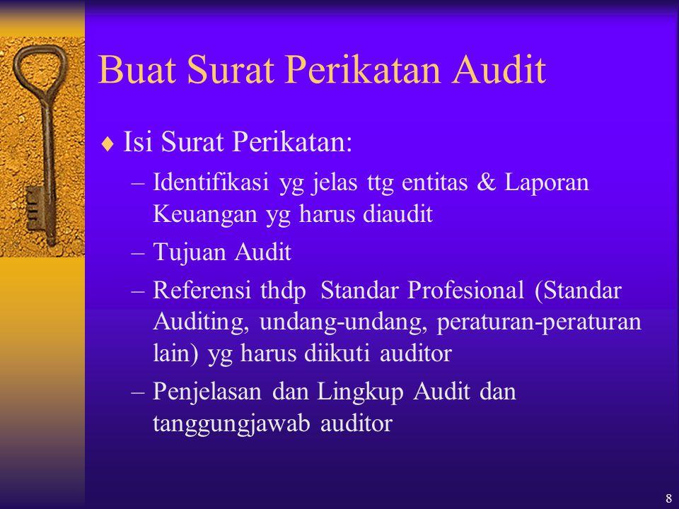 8 Buat Surat Perikatan Audit  Isi Surat Perikatan: –Identifikasi yg jelas ttg entitas & Laporan Keuangan yg harus diaudit –Tujuan Audit –Referensi th