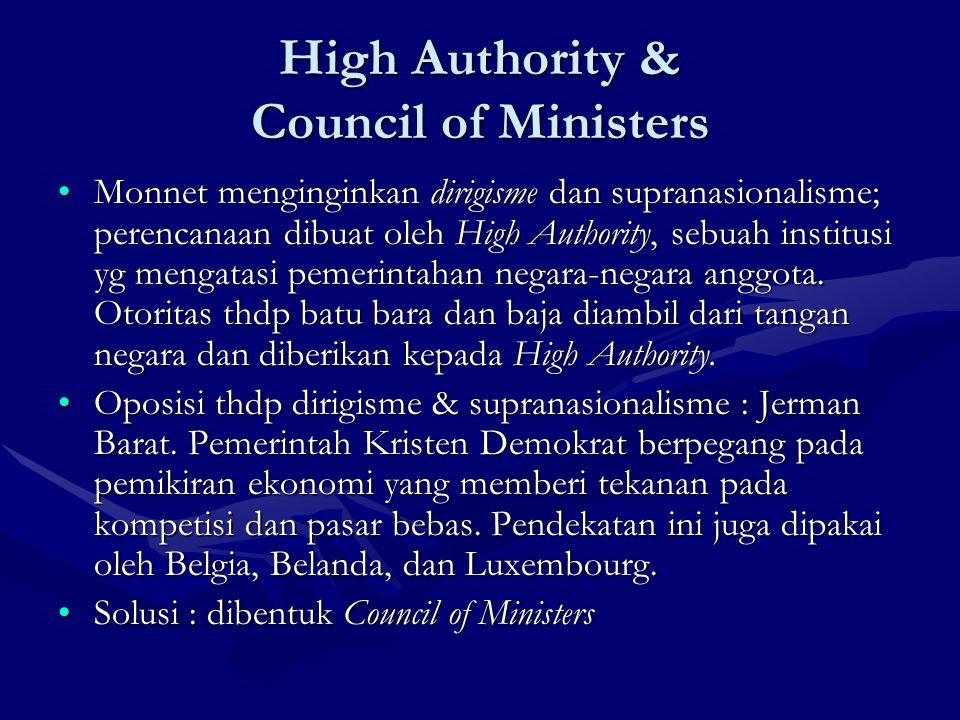 High Authority & Council of Ministers Monnet menginginkan dirigisme dan supranasionalisme; perencanaan dibuat oleh High Authority, sebuah institusi yg