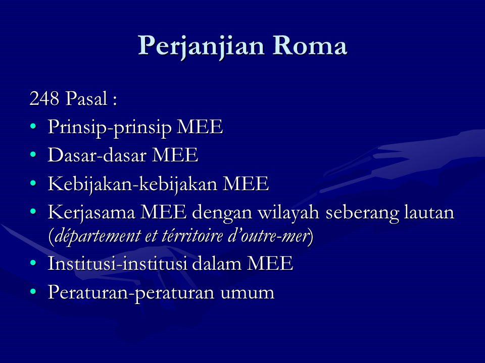 Perjanjian Roma 248 Pasal : Prinsip-prinsip MEEPrinsip-prinsip MEE Dasar-dasar MEEDasar-dasar MEE Kebijakan-kebijakan MEEKebijakan-kebijakan MEE Kerja