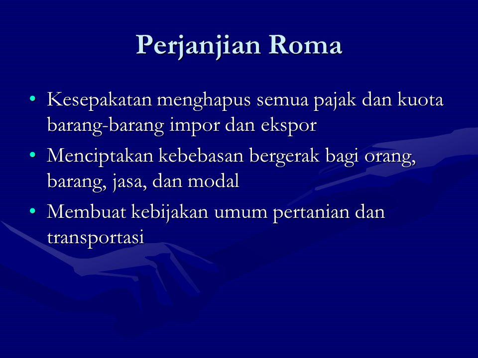Perjanjian Roma Kesepakatan menghapus semua pajak dan kuota barang-barang impor dan eksporKesepakatan menghapus semua pajak dan kuota barang-barang im