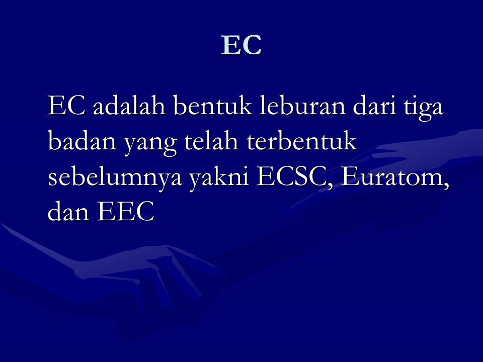 EC EC adalah bentuk leburan dari tiga badan yang telah terbentuk sebelumnya yakni ECSC, Euratom, dan EEC
