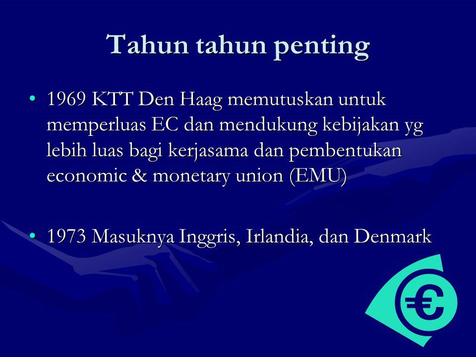 Tahun tahun penting 1969 KTT Den Haag memutuskan untuk memperluas EC dan mendukung kebijakan yg lebih luas bagi kerjasama dan pembentukan economic & m