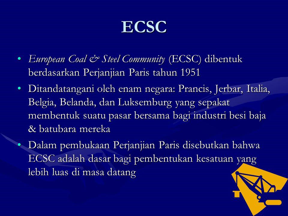 ECSC European Coal & Steel Community (ECSC) dibentuk berdasarkan Perjanjian Paris tahun 1951European Coal & Steel Community (ECSC) dibentuk berdasarka