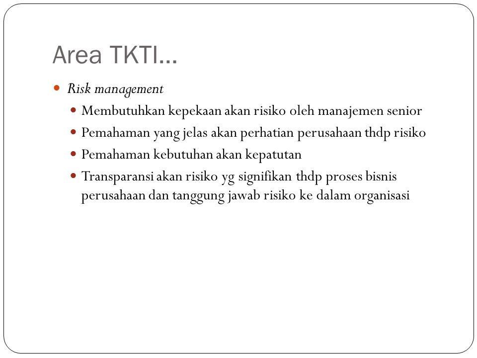 Area TKTI… Risk management Membutuhkan kepekaan akan risiko oleh manajemen senior Pemahaman yang jelas akan perhatian perusahaan thdp risiko Pemahaman kebutuhan akan kepatutan Transparansi akan risiko yg signifikan thdp proses bisnis perusahaan dan tanggung jawab risiko ke dalam organisasi