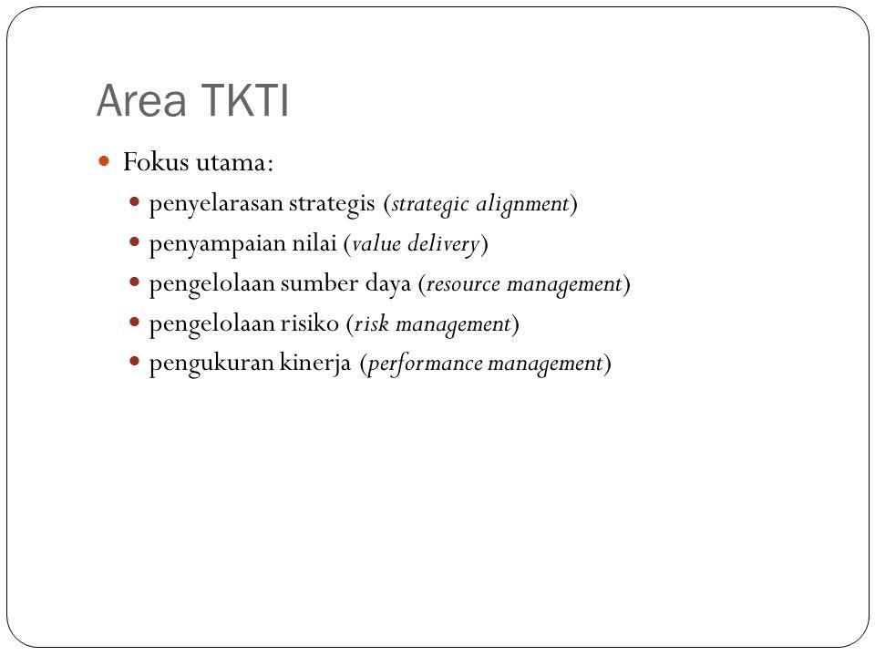 Area TKTI Fokus utama: penyelarasan strategis (strategic alignment) penyampaian nilai (value delivery) pengelolaan sumber daya (resource management) pengelolaan risiko (risk management) pengukuran kinerja (performance management)