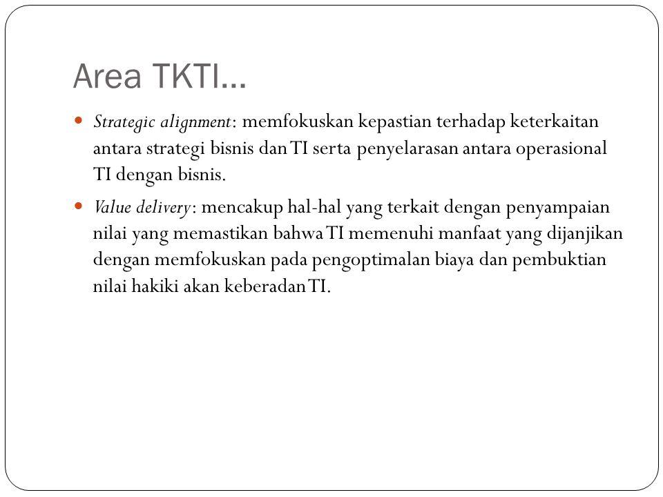 Area TKTI… Strategic alignment: memfokuskan kepastian terhadap keterkaitan antara strategi bisnis dan TI serta penyelarasan antara operasional TI dengan bisnis.