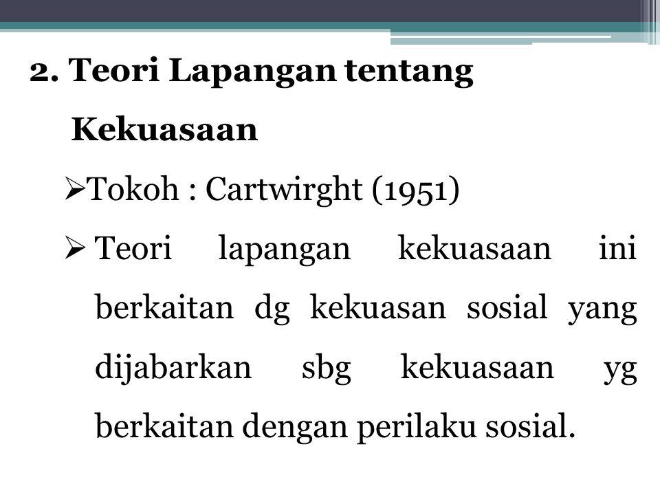 2. Teori Lapangan tentang Kekuasaan  Tokoh : Cartwirght (1951)  Teori lapangan kekuasaan ini berkaitan dg kekuasan sosial yang dijabarkan sbg kekuas