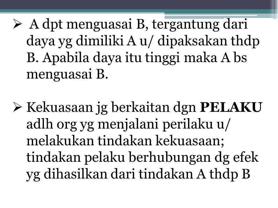  A dpt menguasai B, tergantung dari daya yg dimiliki A u/ dipaksakan thdp B. Apabila daya itu tinggi maka A bs menguasai B.  Kekuasaan jg berkaitan